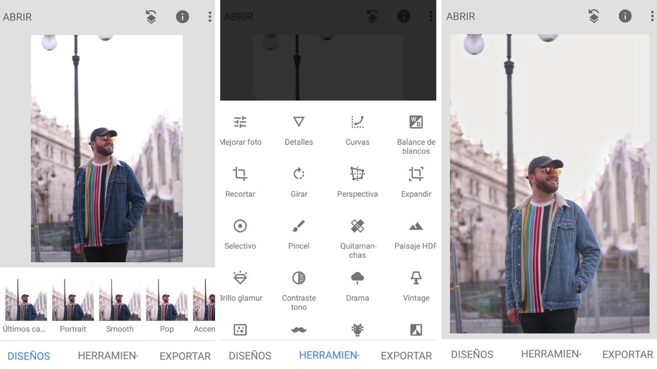 ejemplo snapseed - 7 aplicaciones complementarias a Instagram
